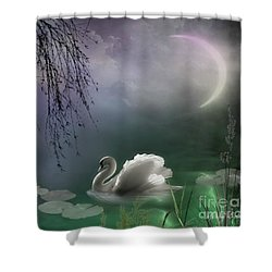 Swan By Moonlight Shower Curtain
