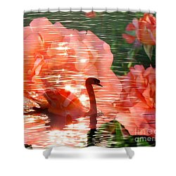 Swan In Lake With Orange Flowers Shower Curtain