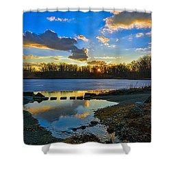 Swan Lake Sunset Shower Curtain