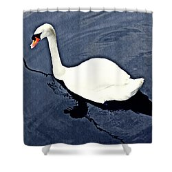 Shower Curtain featuring the photograph Swan On The Rhine by Sarah Loft
