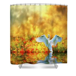 Swan Song At Sunset Thanks For The Good Day Lord Shower Curtain by Diane Schuster