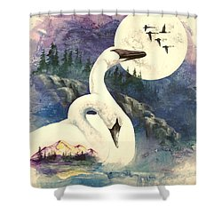 Shower Curtain featuring the painting Swan Song by Sherry Shipley