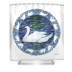 Swan With Knotted Border Shower Curtain