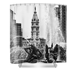 Swann Memorial Fountain In Black And White Shower Curtain by Bill Cannon