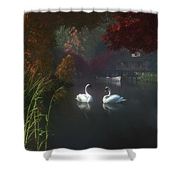 Swans In A River Near Home Shower Curtain