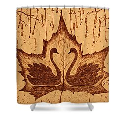 Shower Curtain featuring the painting Swans  In Love Original Coffee Painting by Georgeta Blanaru
