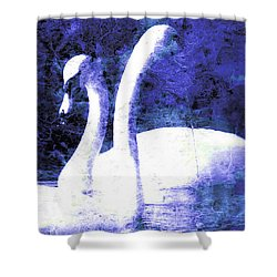 Shower Curtain featuring the digital art Swans On Water  by Fine Art By Andrew David