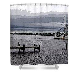 Swansboro Harbor Shower Curtain by Skyler Tipton