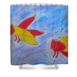 Shower Curtain featuring the painting Swarming Bees by Artists With Autism Inc