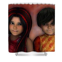Swarthy Twins Shower Curtain by Jutta Maria Pusl