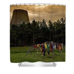 Shower Curtain featuring the photograph Sweat Lodge At Devil's Tower by Gary Lengyel