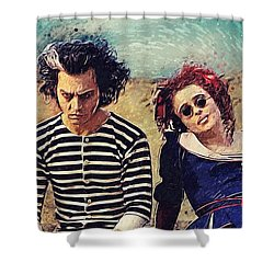 Sweeney Todd And Mrs. Lovett Shower Curtain by Taylan Apukovska