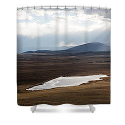 Sweeping Plain And A Small Lake Between Mountain Foothills Near Fairplay In Park County Shower Curtain by Carol M Highsmith