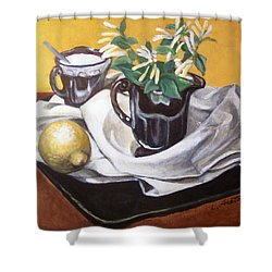 Shower Curtain featuring the painting Sweet And Sour by Laura Aceto
