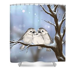 Shower Curtain featuring the painting Sweet Family by Veronica Minozzi