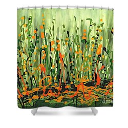 Shower Curtain featuring the painting Sweet Jammin' Peas by Holly Carmichael