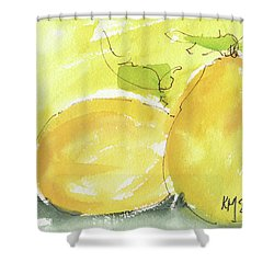 Sweet Lemon Watercolor Painting By Kmcelwaine Shower Curtain by Kathleen McElwaine