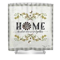 Sweet Life Farmhouse 5 Home Windmill Cotton Boll Laurel Leaf Buffalo Check Plaid Shower Curtain