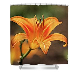Sweet Lilly In Orange Shower Curtain