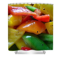Shower Curtain featuring the digital art Sweet Peppers by Jana Russon