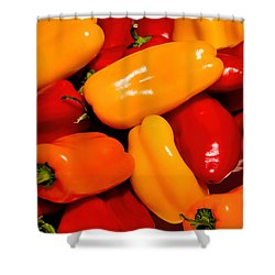 Sweet Peppers Shower Curtain by Pat Cook