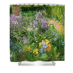 Sweet Rocket - Foxgloves And Irises Shower Curtain by Timothy Easton