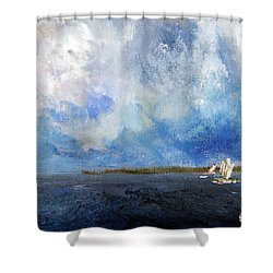 Shower Curtain featuring the painting Windward Passage by Michael Helfen
