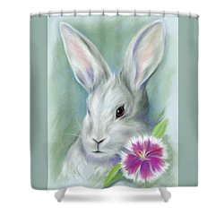 Shower Curtain featuring the pastel Sweet William Bunny Rabbit by MM Anderson