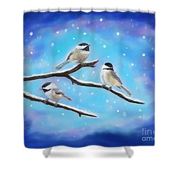 Shower Curtain featuring the painting Sweetest Winter Birdies by Leslie Allen