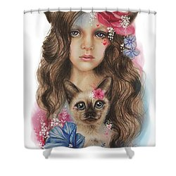 Shower Curtain featuring the mixed media Sweetheart by Sheena Pike