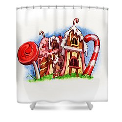 Sweety House Shower Curtain by Andy Catling