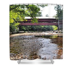 Swift River And Covered Bridge Shower Curtain
