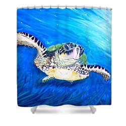 Shower Curtain featuring the painting Swim by Dawn Harrell