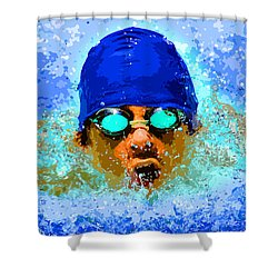 Swimmer Shower Curtain by Stephen Younts