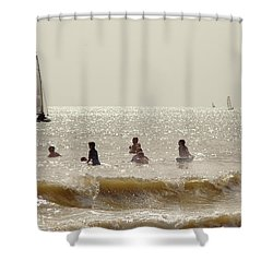 Swimmers And Yachts Shower Curtain