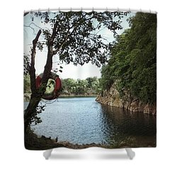 Shower Curtain featuring the photograph Swimming At The Quarry by Karen Stahlros