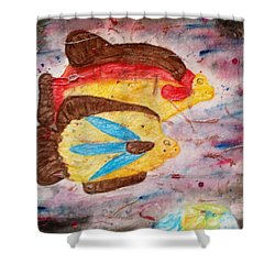 Shower Curtain featuring the painting Swimming By by Thomasina Durkay