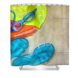 Swimming Gear Shower Curtain by Carlos Caetano