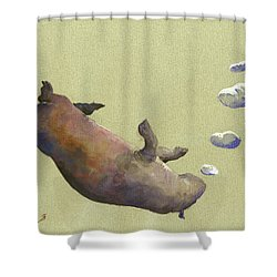Swimming Hippo With Bubbles Shower Curtain