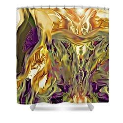 Shower Curtain featuring the digital art Swimming Horses by Linda Sannuti