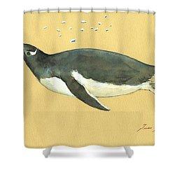 Swimming Penguin Shower Curtain