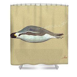 Swimming Penguin Painting Shower Curtain