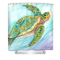 Swimming, Smiling Sea Turtle Shower Curtain