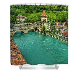 Shower Curtain featuring the photograph Swimming The River Aare , Bern  by Connie Handscomb