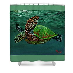 Shower Curtain featuring the painting Swimming With Aloha by Darice Machel McGuire