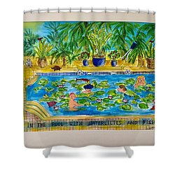 Swimming With Waterlilies And Fish Shower Curtain