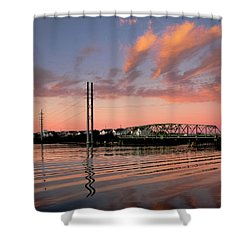 Swing Bridge At Sunset, Topsail Island, North Carolina Shower Curtain
