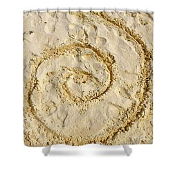 Shower Curtain featuring the photograph Swirl Drawn In The Sand by Francesca Mackenney