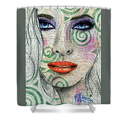 Swirl Girl Shower Curtain by P J Lewis