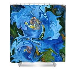Swirled Blue Poppies Shower Curtain by Renate Nadi Wesley
